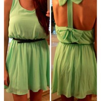 Bows Back Dress in Mint from Monica's Closet Essentials