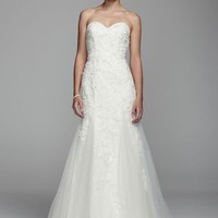 Strapless Sweetheart Lace Applique Gown - David's Bridal