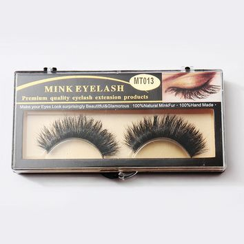 1Pair Handmade Luxurious Beauty 100% Horsehair Thick Long Black Eye Lashes 3D False Eyelashes Tools with Box