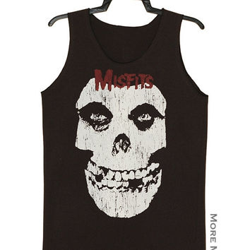 Misfits Horror Skull Charcoal Black Tank Top Singlet Vest Tunic Sleeveless Women Tee Shirt Punk Rock Music T-Shirt Size M-L