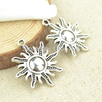 HOT 50pcs For necklace&bracelets making for metal charms tibetan silver sun pendants jewelry findings and components 3008