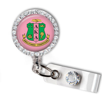 Alpha Kappa Alpha Sorority Swarovski Crystal Name Badge Holder