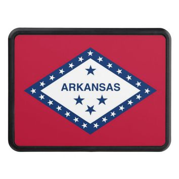 Patriotic hitch cover with Flag of Arkansas