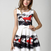 Horse Print Sleeveless Bow Waist Chiffon Skater Mini Dress