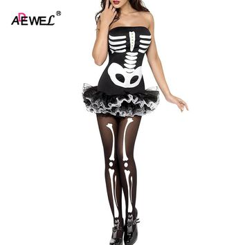 Halloween Day Strappy Cagged Halter Occult Bones Print Bandage Sexy Club Dress Fever Skeleton Halloween Costume LC8899