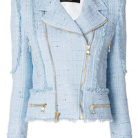 Balmain Tweed Biker Jacket - Farfetch