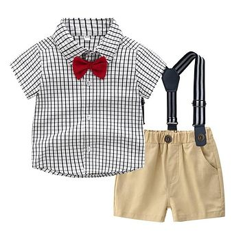 """Gentleman In Plaid"" Baby Boys Bow Tie & Suspender 4-Piece Set"