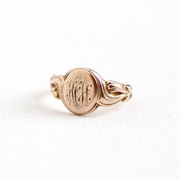 Antique Art Nouveau Monogrammed HH 10k Rose Gold Ring - Vintage Early 1900s Edwardian Art Deco Swirl Filigree Initial Fine Signet Jewelry