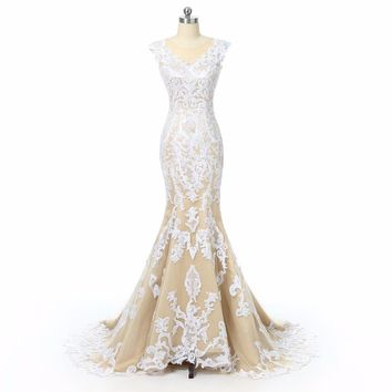 aa6cbe86966 Champagne Lace Mermaid Wedding Dresses 2018 Illusion Back Cap Sl