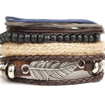 ONETOW New angel wings feather alloy multi-layer wooden beads braided bead wax bracelet bracelet