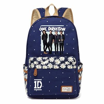 WISHOT One Direction 1D band Backpack shoulder Travel Bag for teenagers girls women Canvas dot school bag