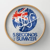 5 Seconds of Summer Flag Wall Clock by dan ron eli