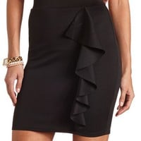 RUFFLED SCUBA MINI SKIRT