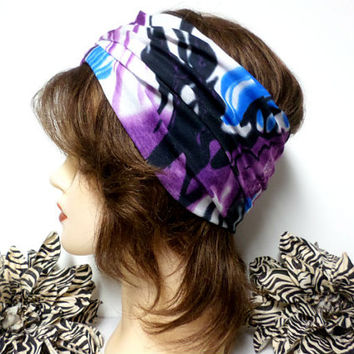 Purple, Black, Blue & White Headwrap, Yoga Headband, Wide Headband, Running Headband, Workout Headband, Turban Headband, boho, scarf, wrap
