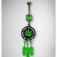 14 Gauge Leaf Dream Catcher Banana Belly Button Ring