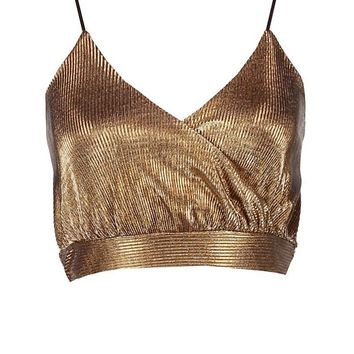 Petite Ava Wrap Crop Pleated Metallic Camp Top | Boohoo