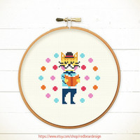 PDF counted cross stitch pattern - Cat Love Reading  - Instant download - READING POWER - Happy cat , Cheerful kitten , Cute Woodland Animal