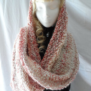 Raspberry Frost   ...... Double the thickness,Infinity Scarf, Extra Long, Wool, Red, Ivory, Warm, Soft, Boucle, Wrap Scarf, Circular Scarf