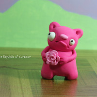 Pink Bear Figurine - Cute Polymer Clay Decoration - Handmade Geekery for All Ages - Awesome Desk Accessory for Fun People