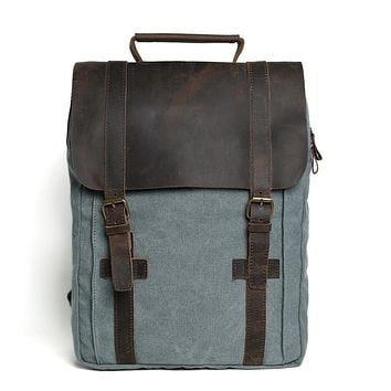 Waxed Canvas and Leather Double strap Backpack - Blue