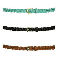 3 Braided Skinny Belts | Shop Accessories at Wet Seal
