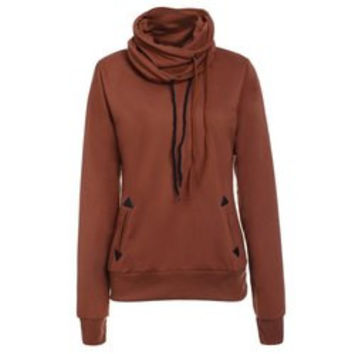 Layered Collar Pullover Drawstring Sweatshirt