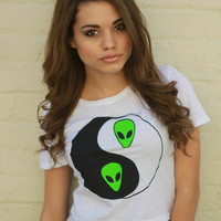 Alien Yin Yang White Graphic Crop Top