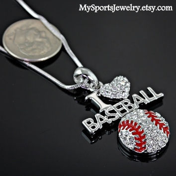 I Love Basebal  Charm Pendant Rhinestone Necklace