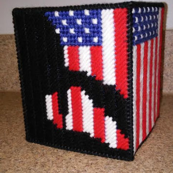 Patriotic Tissue Box, American Flag Box Cover, Tissue Box, Plastic Canvas, Stars and Stripes Box, Get Well Gift, United States of America