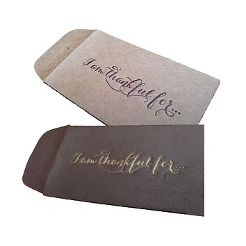 I am Thankful For Thanksgiving Mini Kraft Envelope with Note on Letterpress - 4 pack