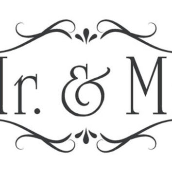 Mr Mrs Scroll Stencil  Wall Wood Sign Crafts Jennawoodburlapcraft