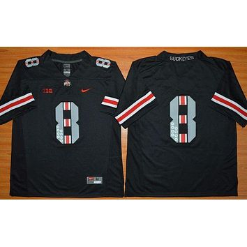 PEAPO2N Nike Ohio State Buckeyes 8th Championship Commemorative Ice Hockey Jerseys - Black Size M,L,XL,2XL,3XL