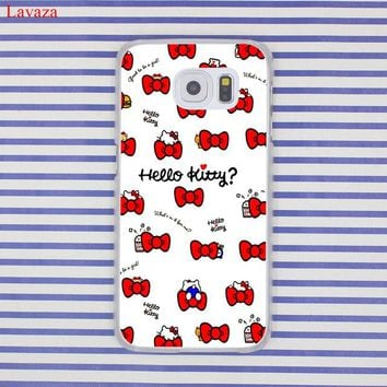 Lavaza Fashionable Hello Kitty Hard Transparent Phone Case for Samsung Galaxy S8 S9 Plus S3 S4 S5 S6 S7 Edge Cover