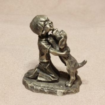 Vintage Little Gallery by Hallmark Pewter figurine I Wuff You Dog Kissing Kid by