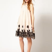 ASOS CURVE Swing Dress With Lace Applique at asos.com