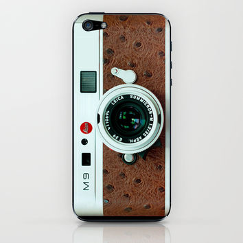 Classic retro White with Brown Leather vintage camera iPhone 4 4s 5 5c, ipod, ipad case iPhone & iPod Skin by Three Second