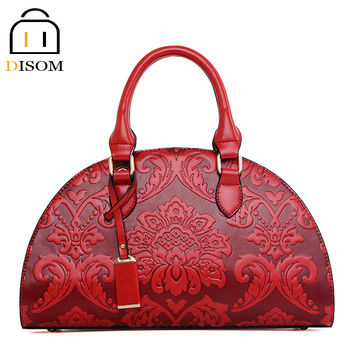Disom new design 3D embossing flower women shell bags luxury brand 2016 fashion hard pu leather purses and handbags for women
