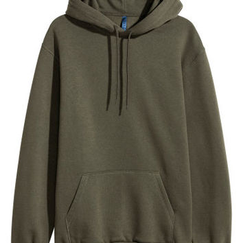 Hooded top - Dark khaki green - Men | H&M GB