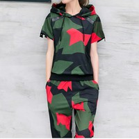Women Casual Camouflage Print Short Sleeve Hooded Sweater Trousers Set Two-Piece Sportswear