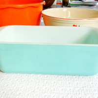 Turquoise Pyrex Loaf Pan Egg Shell Blue Pyrex Ovenware 213 1950s Aqua Glass Bakeware Baking Pan