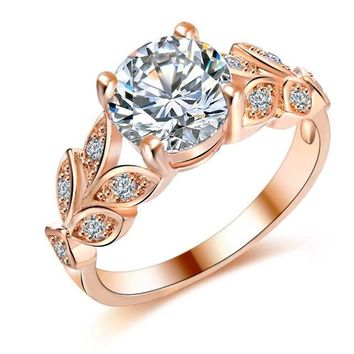 Leaf Shape Round Cut CZ Diamond Ring- Rose Gold/Silver