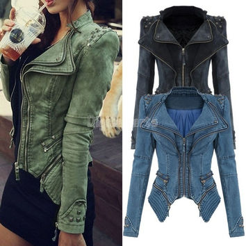 Cool Studded Shoulder Notched Lapel Denim Jacket Jeans Tuxedo 2014 New Winter/autumn Coat Blazer  SV001070 = 1930182020