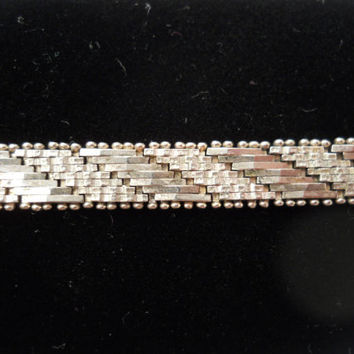 Sterling Silver 925 Chunk Deco Style Bracelet 7 1/8 in 7mm Milor Italy 925