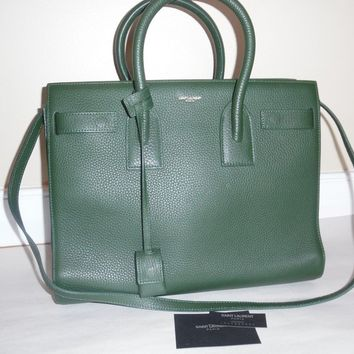 NWT YVES SAINT LAURENT MEDIUM SAC DE JOUR DARK GREEN GRAINED LEATHER BAG $3600