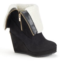 Women's Fold-Over Platform Wedge Ankle Boots