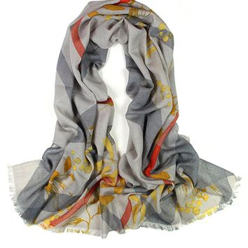 Dahlia Women's 100% Merino Wool Pashmina Scarf - Golden Leaf on Plaid - Gray