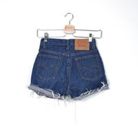 80s LEVI'S 504. Made in France. Cutoffs Cuffed Shorts. High Waisted. Zip fly. W27