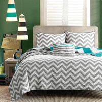 Full / Queen Size 3 Piece Quilt Set Reversible Chevron Gray Teal