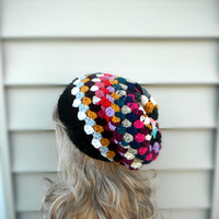 Multi Color Granny Style Hat, Slouchy Womens Hat, Unique Womens Hat, Crochet Beanie, Winter Accessories, Womens Accessories, Ready To Ship!