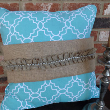 "Burlap Pillow Wrap with ruffle and rhinestones for a 16"" or 18"" pillow"